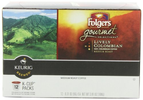 Folgers Gourmet Sele Countions Coffee, Lively Colombian,  Portion Pack for Keurig Brewers, 12-Count (Pack of 3)