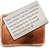 Engraved wallet insert,Stainless steel Wallet Card Insert,Engraved love message,Valentine's Day, Groom's Gift For Him,Boyfriend Gift