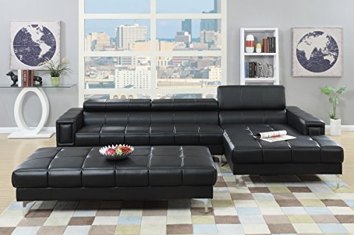 Poundex F7363 Bobkona Hayden Bonded Leather Sectional with Adjustable Back, Black