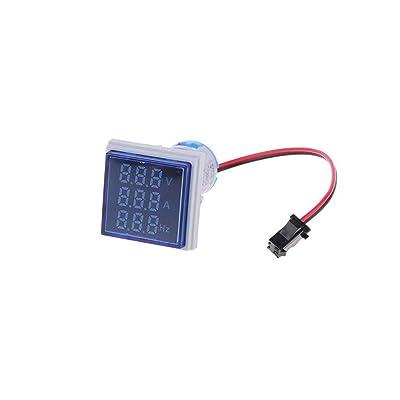 Libobo3 in 1 AC 60-500V 100A Voltmeter Ammeter HZ Hertz Frequency Meter 22mm Digital (Blue): Health & Personal Care