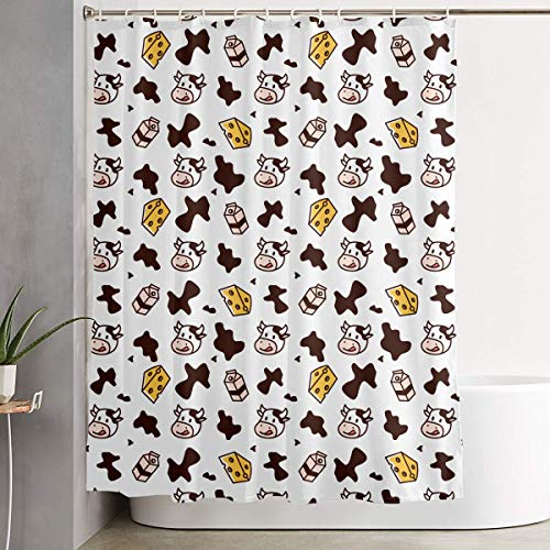 YOFFYO Elegant Stalls and Bathtubs Shower Curtains with Rustproof Grommets Holes Mold/Shower Stall Curtain - Large Size (Cow Milk Cheese)