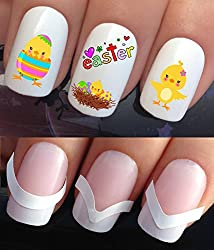 NAIL DECALS WATER TRANSFERS STICKERS TATTOO ART SET #637 & 172. **plus x48 nail tip guides!!** x24 EASTER CHICKS IN NEST AND EGGS TATTOO WRAPS