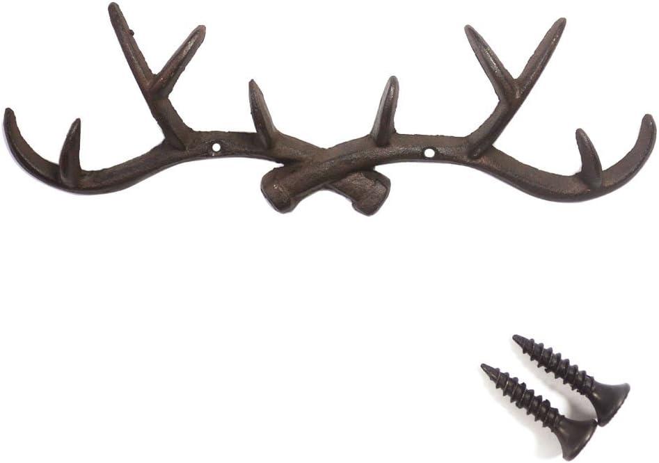 Chocolate 14 inch Vintage Rustic Cast Iron Deer Antlers Coat Rack Key Holder Jewellery Display Rack Bathroom Towels Hanger Rustic Cabin Hanger(with Screws)