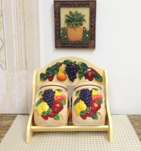3-D MIxed Fruit Ceramic 2-Pcs Candy Jar and Rack 11