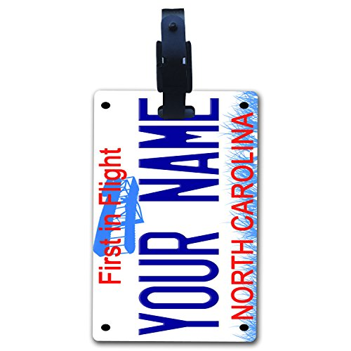 BleuReign(TM Personalized Custom Name North Carolina State License Plate Luggage Tag with Strap ()
