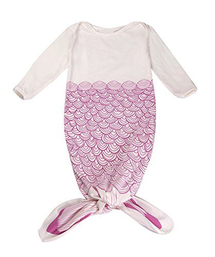 Mrotrida Newborn Swaddle Blanket 100% Organic Cotton Gown Cute Mermaid Tail Sleeping Bag for 0-12 Months Girls Boys Baby Medium Rose ()