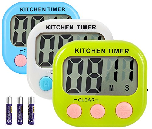 Great Polly 3 Pack Digital Kitchen Timer Cooking Timers Clock with Alarm Magnetic Back and Stand, Minute Second Count Up Countdown, Large LCD Display Batteries Included