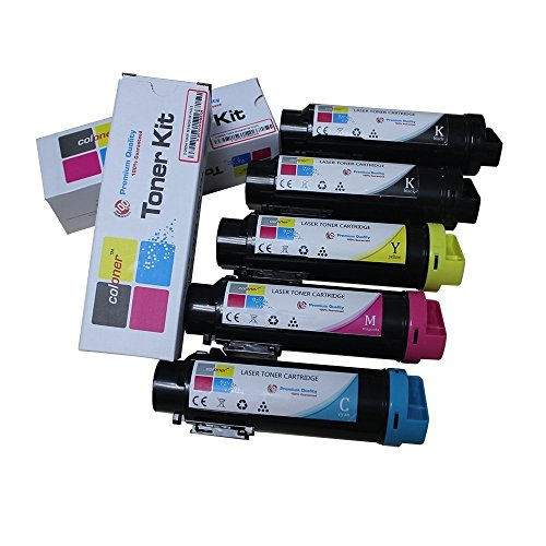 3,000 &2,500 Pages S2825 Toner Coloner(TM) Compatible Dell Hicap H625cdw / H825cdw / S2825cdn Toner Cartridges (5-pack set) Compatible Black Toner Kit