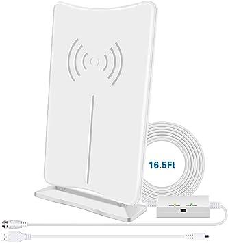 Antena Digital HD para TV, Antena de Interior HDTV de 160 Millas de Largo Alcance con Amplificador de señal, soporta Canales Locales 4K HD UHF VHF de ...