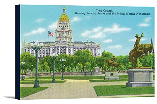 Denver, CO - State Capitol and Grounds, Bronco Buster and Indian Warrior Monuments View (36x23 1/4 Gallery Wrapped Stretched Canvas) (Co Denver Capitol State)