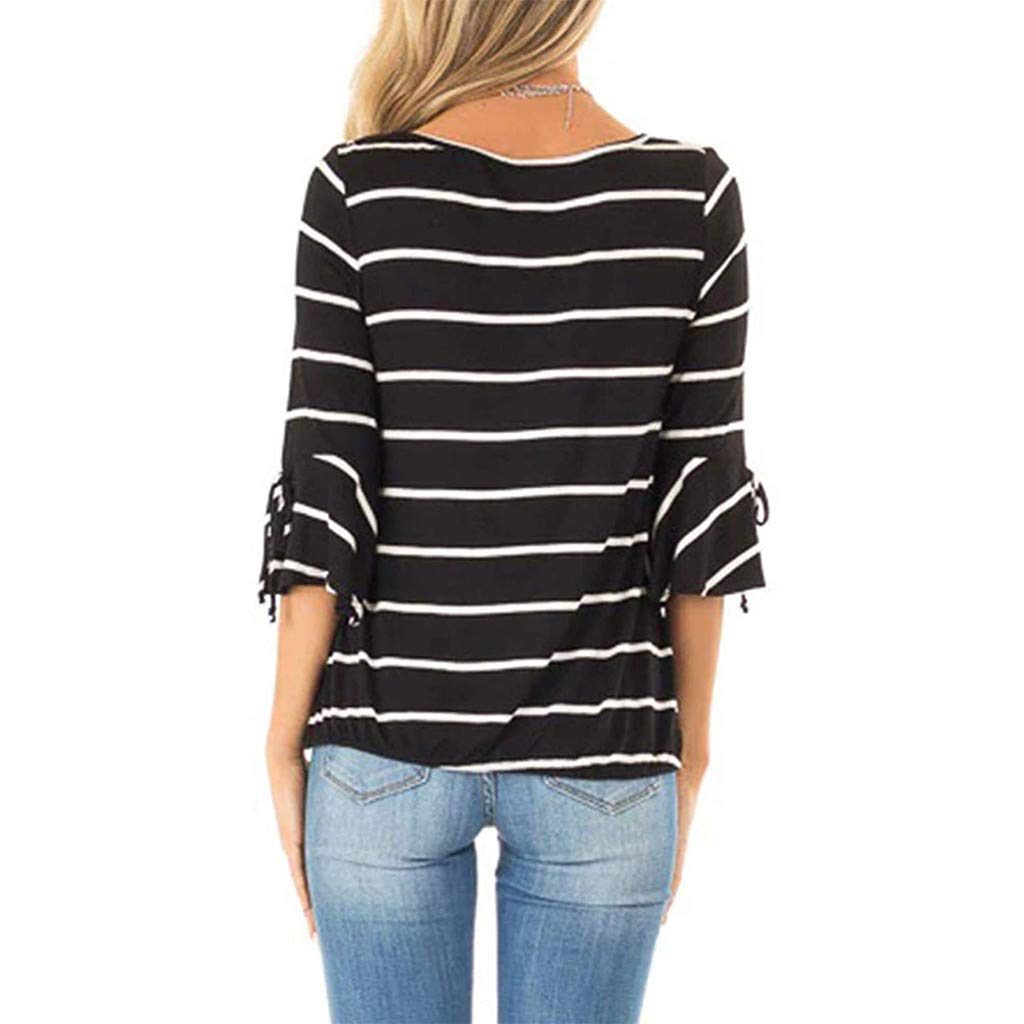 LONGDAY Women Casual T-Shirt Wrap V-Neck Flare Sleeve Shirt Summer Loose Blouse Striped Top Tunic Ladies Pullover Basic Black by LONGDAY-Women Tops (Image #3)