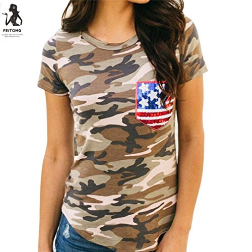 TOPUNDER Independence Day Short Sleeve Camouflage American Flag Blouse Casual T Shirt for Women