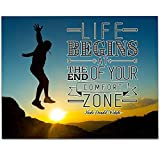 Life Begins At The End of Your Comfort Zone - 11x14 Unframed Art Print - Great Motivational Gift
