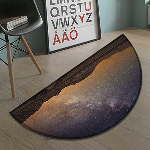 Night bath mats for floors Milky Way over Desert of Bardenas Spain Ethereal View Hills Arid Country door mat indoors Bathroom Mats Half Moon Non Slip Plum Apricot Chocolate size:35.5''x23.7'' by duommhome