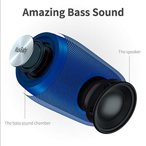 Bluetooth Speakers,MusiBaby Speaker,Outdoor Portable,Waterproof,Wireless Speakers,Dual Pairing,Bluetooth 5.0,Loud Stereo Booming Bass,1500 Mins Playtime for Home&Party Blue