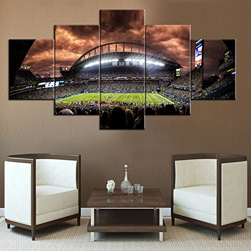 ving Room The Seattle Seahawks Celebratation HD Prints on Canvas NFL Paintings 5 Panel Canvas Artwork Home Decor,Giclee Framed Gallery-wrapped Stretched Ready to Hang(60''Wx32''H) ()