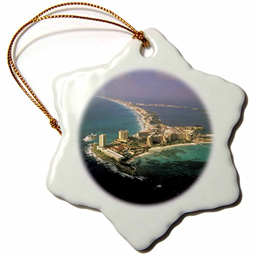 3dRose orn_86861_1 Mexico Quintana Roo Cancun Aerial Walter Bibikow Snowflake Decorative Hanging Ornament, Porcelain, 3-Inch