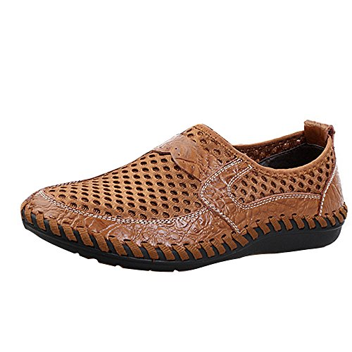 Running Shoes Taille Mesh Respirant Walking Printemps Grande Marron Hommes Slip Mocassins Casual Sport Conduite Loafers Légère Marche Mode Chaussures Men axYRWPq
