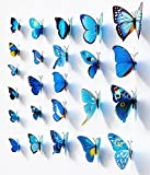 Blue 24PCS 3D Butterfly Wall Stickers Decor Art Decorations 3 size Picture