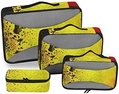 トラベル ポーチ 旅行用 収納ケース 4点セット トラベルポーチセット アレンジケース スーツケース整理 ベルギー国旗 収納ポーチ 大容量 軽量 衣類 トイレタリーバッグ インナーバッグ
