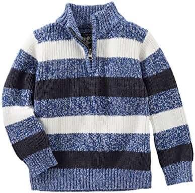 Oshkosh Boys' Blue & White Striped Ski Lodge Sweater; 1/4 Zip