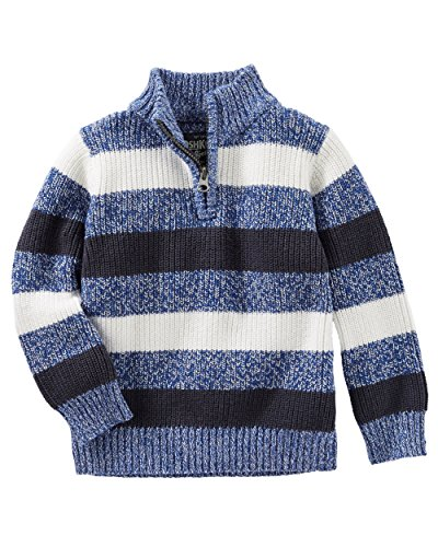 Oshkosh Boys' Blue, Navy & White Striped Pull-Over Sweater with 1/4 Zip (12) ()