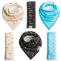 Baby Bandana Bibs and Burp Cloths - Boy 6 Pack - Soft Organic Cotton - Cute B...