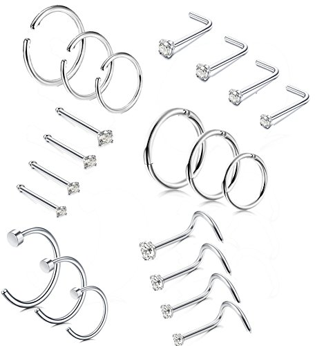 LOLIAS 21 Pcs Stainless Steel Hoop Nose Rings Nose Ring Stud Body Piercing Jewelry CZ Inlaid 1.5MM 2MM 2.5MM 3MM