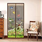 Ochine Anti Mosquito Magnetic Screen Door, Lace Top with 7 Magnetic Buckles and 6 Magnetic Strips, Automatically Shut Mesh Curtain, 35.4