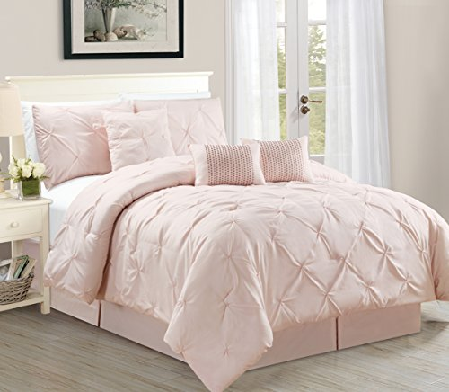 WPM 7 Piece Luxurious Pinch Pleat Decorative Pintuck Comforter Set, All Season Rose Bedding (Queen) (Pleat Comforter Pinch Pink)