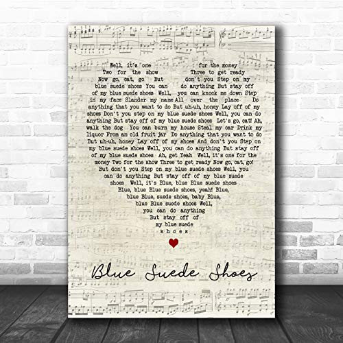 Blue Suede Shoes Script Heart Song Lyric Quote Music Poster Gift Present Art Print
