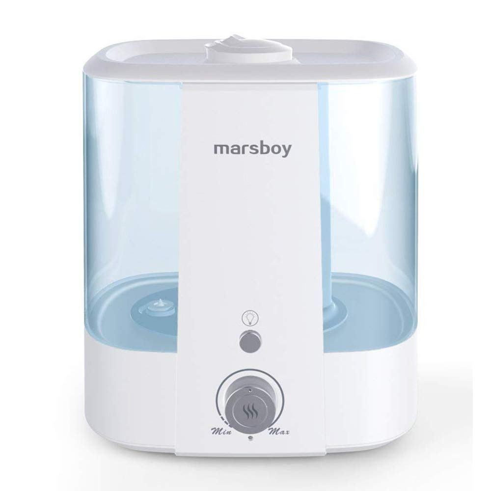 Ultrasonic Mist Humidifiers - Cold and Warm Mist Humidifier with Ambient Night Light, 6L Large Capacity for Adults and Babies in Home/Bedroom/Office, Super Quiet, Auto Shut Down, Anti Mold, Easy Clean