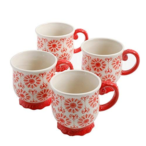 (The Pioneer Woman Floral Bursts Footed 19oz Mugs, Set of 4)