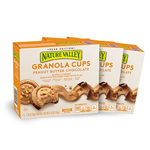 Nature Valley Peak Edition Granola Cups, Peanut Butter, 5 Pouches - 1.35 oz (Pack of 3)