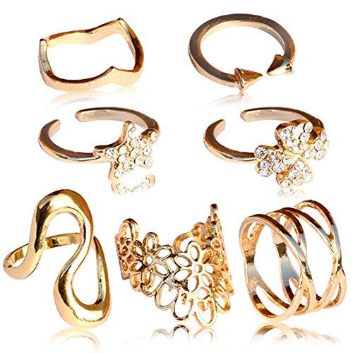 tumundo Set von 7 od 8 Stk Fingerring Ring Fingerspitzenring Knuckle Nagelring Obergelenkring Finger Ringe Damenschmuck, Farbe:Modell 1 - golden