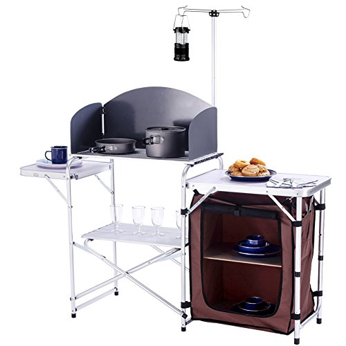 CampLand Folding Cooking Table Outdoor Portable Cook Station Aluminum Camping Kitchen with Storage Organizer, Windscreen, Hooks for BBQ, Party