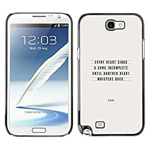 Be Good Phone Accessory // Dura Cáscara cubierta Protectora Caso Carcasa Funda de Protección para Samsung Note 2 N7100 // Plato Love Quote Text Inspirational