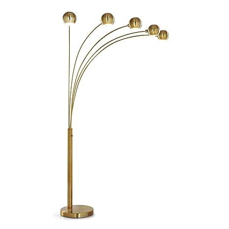 official photos 37285 c846a 2019 Orbs 5 Light Arc Floor Lamp, Arch Lamp, Modern Floor Lamp, Dimmer  Switch, Bulbs Included (Antique Brass)