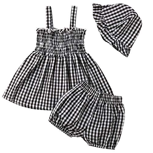 Kid Baby Girls Strappy Patchwork Tops Shirts and Denim Shorts Clothes Set Shirt Dress Short Pants Outfit for Kids (Black, 80(6-12M))