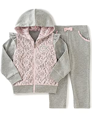 Baby Girls' Hooded Jacket with Pants Set