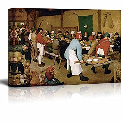 Peasant Wedding by Pieter Bruegel The Elder - Canvas Print Wall Art Famous Painting Reproduction - 32