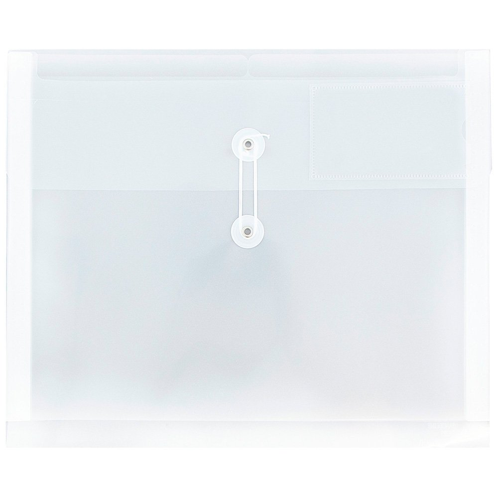 12 3//4 x 10 1//2 12//Pack Letter Booklet JAM PAPER Plastic Envelopes with Button /& String Tie Closure /& 2 Dividers Clear