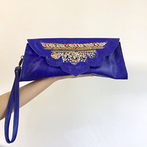 Blue leather emboridery wristlet handbag by Art Of Yunnan