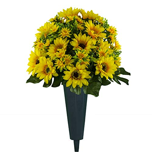 Sympathy Silks Artificial Cemetery Flowers – Realistic Vibrant Sunflowers Outdoor Grave Decorations - Non-Bleed Colors, and Easy Fit - Yellow Sunflower Bouquet with Cemetery Vase