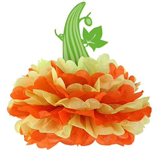 SUNBEAUTY Pack of 3 Halloween Pumpkin Tissue Paper Pom Poms Flowers Table Centerpiece Halloween Decorations (Lime Green&Orange)
