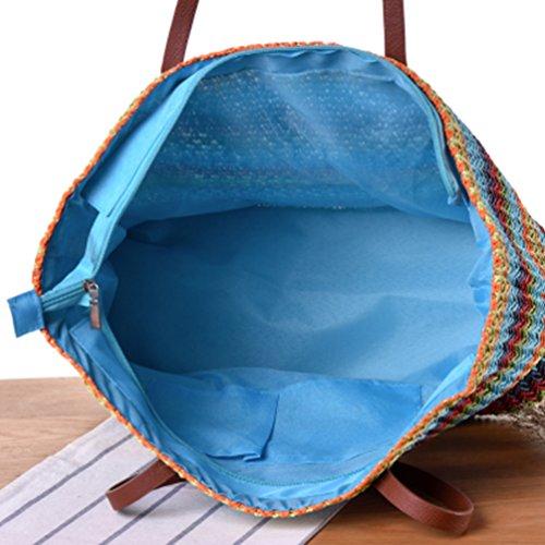 Été et Plage Loisir 3 1 unique En à Taille Vacances Pour YOUJIA Élégant à Rayures Bleu de Sacs Main Paille Femme Marron Sac YFPAxa0