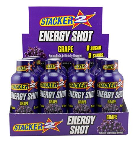 Stacker 2 Energy Shots Grape Flavor 2oz. Shots (24 Bottles) -