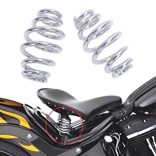 Kawayee Motorcycle Solo Seat 4 Inch Barrel Spring Chrome Harley Yamaha Chopper Bobber Softail Custom (Barrel Spring)