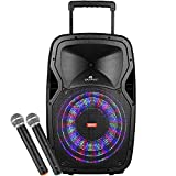 Owlee Condor Wireless Bluetooth Portable PA Speaker System with 2 Wireless Microphones, MP3/ USB/ SD/ FM Radio, Powerful 360 Watt Stereo Sound Output, Flashing DJ Lights, Telescoping Handle