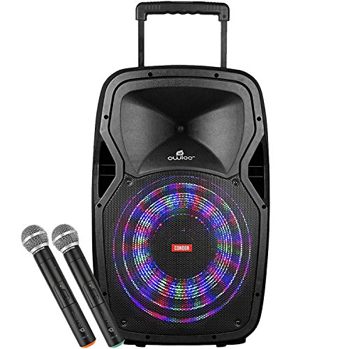 Owlee Condor Wireless Bluetooth Portable PA Speaker System with 2 Wireless Microphones, MP3/ USB/ SD/ FM Radio, Powerful 360 Watt Stereo Sound Output, Flashing DJ Lights, Telescoping Handle by Owlee